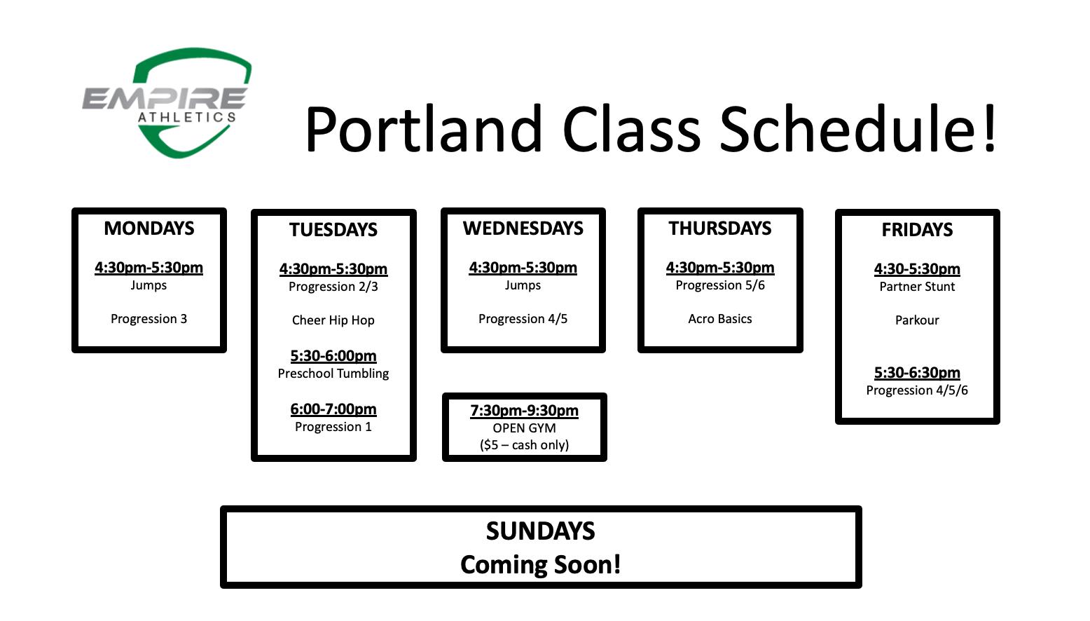 Portland Schedule